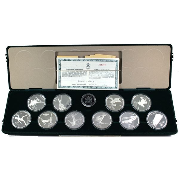 1988 Calgary Olympics 10-coin Sterling Silver Proof  Set in Original Green Display Case with C.O.A's