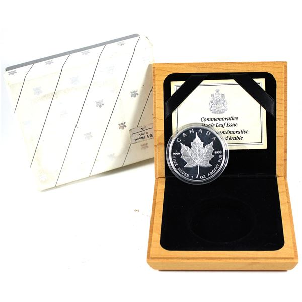 1979-1989 Proof 1oz Silver 10th Anniversary Maple Leaf in Maple Wood Box with C.O.A.  (Tax exempt)