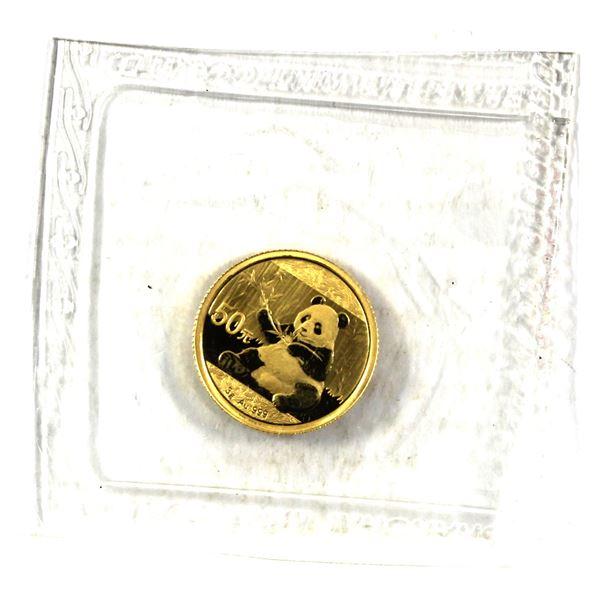 2017 3g Gold Panda still sealed in original Pliofilm. (Tax exempt)  (0.09645 oz. troy)