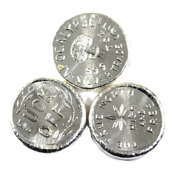 Lot of 3x 1oz Beaver Bullion  commemorative rounds. Lot includes: Apocalypse-Good for one face Mask,