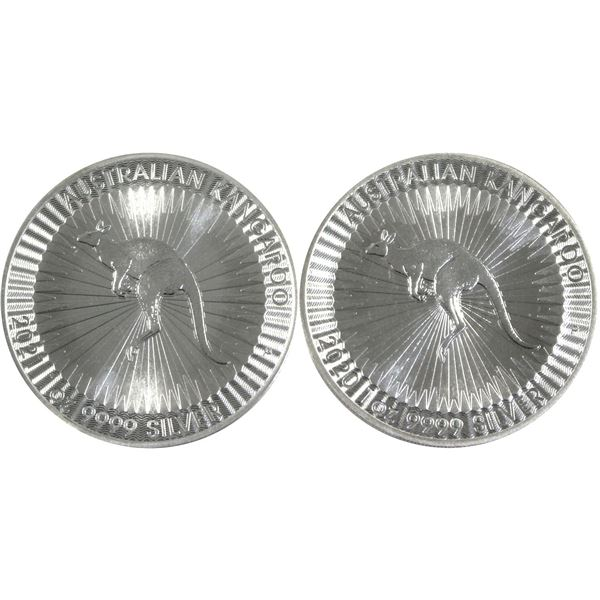 Pair of 1oz Australian Kangaroo Silver rounds in Mint capsules. 2pc (Tax exempt)