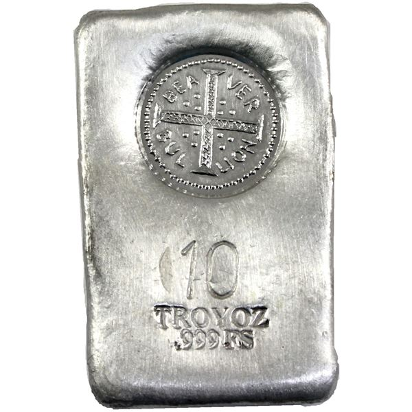 Unique 10oz hand poured Silver bar by Beaver Bullion. Bar featured a satin top finish with Cross log