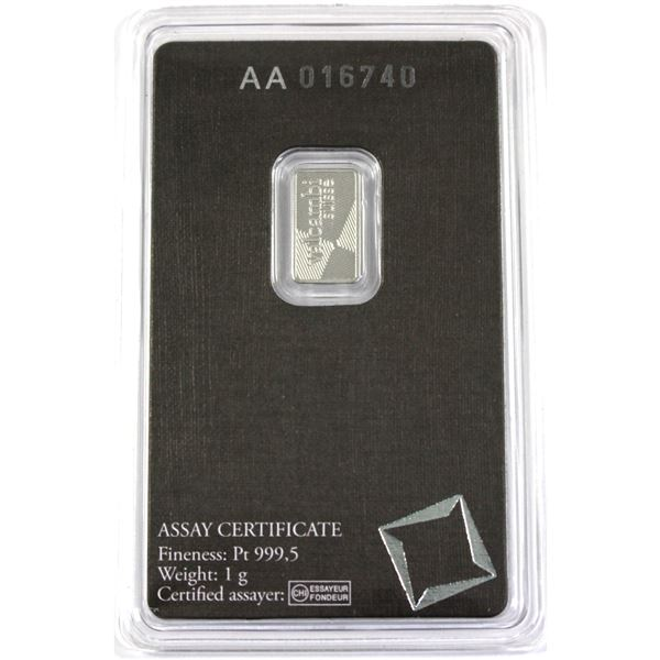 1 gram Platinum wafer .9995 Pure by Valcambi Suisse. Comes in original sealed Assay Card. (Tax exemp