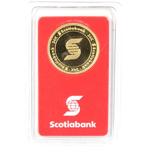 1/4oz Pure Gold Scotia Bank round, in original Assay Card by Valcambi. (Tax exempt)
