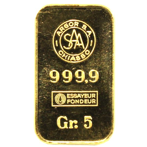 5 gram gold wafer by Argor S.A. Chiasso .9999 Pure. (0.16oz Troy) Tax exempt.