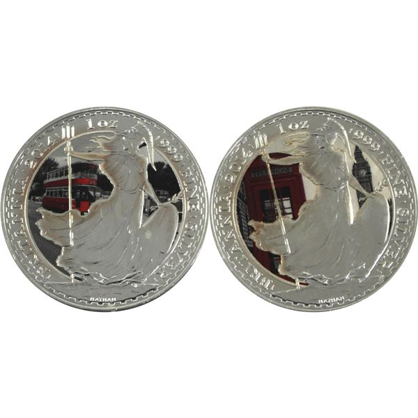 Lot of 2x Great Britain 1oz Silver Britannia's with selective commemorative colouring. 2pc (Tax Exem