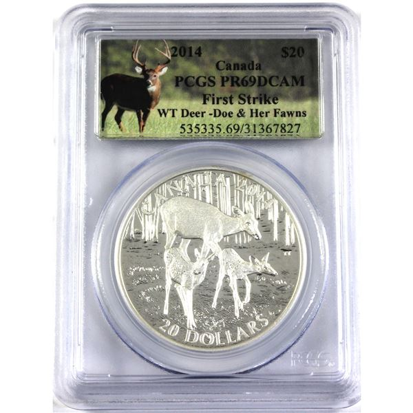 2014 $20  White Tailed Deer & Fawns PCGS Certified PR69 DCAM! (tax exempt)