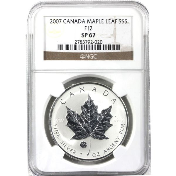 2007 $5 F-12 1oz Privy Silver Maple Leaf NGC Certified SP67! (Tax exempt)