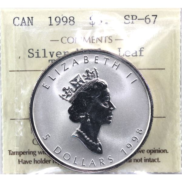 1998 $5 Tiger Privy Silver Maple Leaf ICCS Certified SP-67! (Tax exempt)