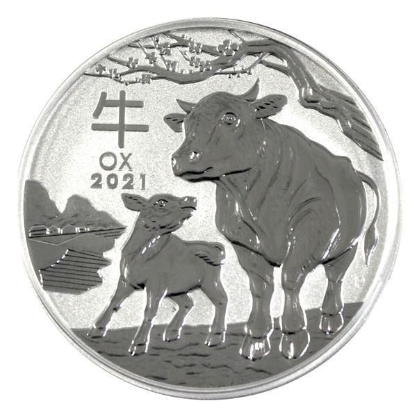 2021 2oz Fine Silver Australian  Year of the Ox commemorative . Comes in original Mint capsule. (Tax
