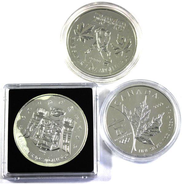 Lot of 3x $5 1oz Silver Vancouver Olympic Commemorative Maples (Hockey, Thunderbird, Olympic logo) 3