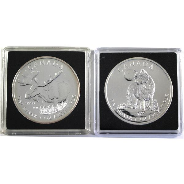 Pair of 2x $5 1oz Silver Wildlife series. Lot includes 2011 Wolf, and a 2012 Moose! 2pc (Tax exempt)