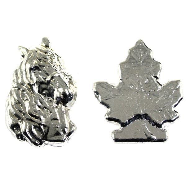 Pair of 2oz Beaver Bullion 3-D Hand poured Silver ingots. Lot includes Horse Head and Maple Leaf. 2p