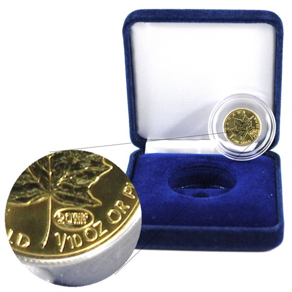 1999 $5 1/10th Gold Maple Leaf with Fireworks Privy. Comes in Original Mint capsule and Blue Velvet