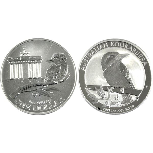 Lot of 2x 1oz Silver Australian Kookaburra's. Lot includes 2020 & 2021 both in original Mint capsule