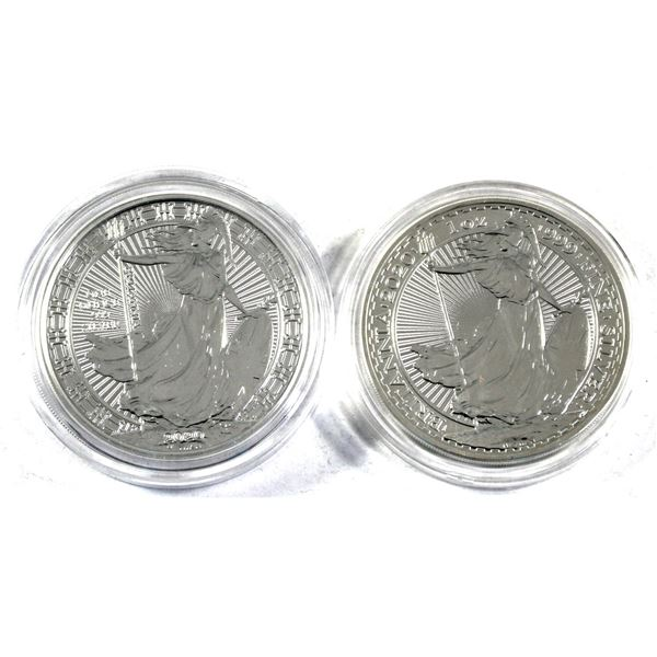 Lot of 2x Great Britain 1oz Silver Britannia's, 2020 Old design and 2020 New design. 2pc (Tax Exempt