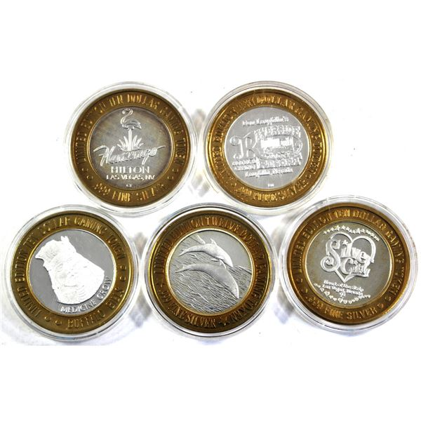 Lot of 5x Limited edition Las Vegas Silver Strike Casino tokens. Lot includes 4x $10, Don Laughton's