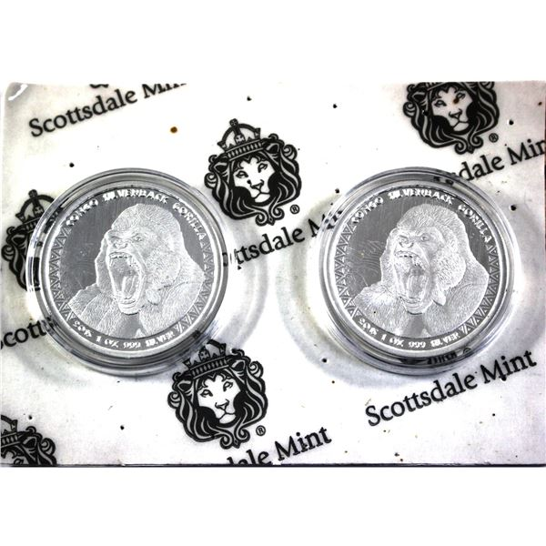 Pair of 1oz Silver Congo Silverback Gorilla's by Scottsdale Mint. Still sealed on original Shipping
