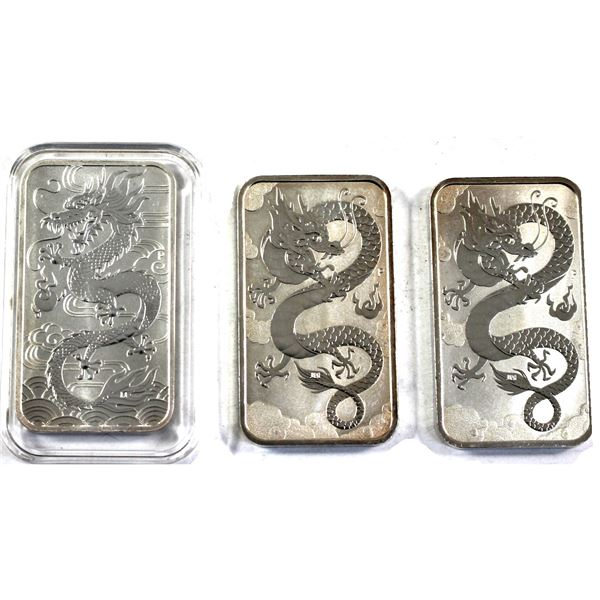 Lot of 3x 1oz Fine Silver $1 Australian Dragon Bars. Lot includes 2x 2019 and 2018 (Some toned and l