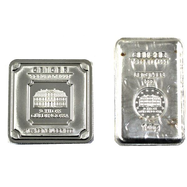Silver Lot of Fine Silver Geiger Bars. Lot includes: 1oz Square, and 100g (3.215oz) ingot. 2pc (Tax