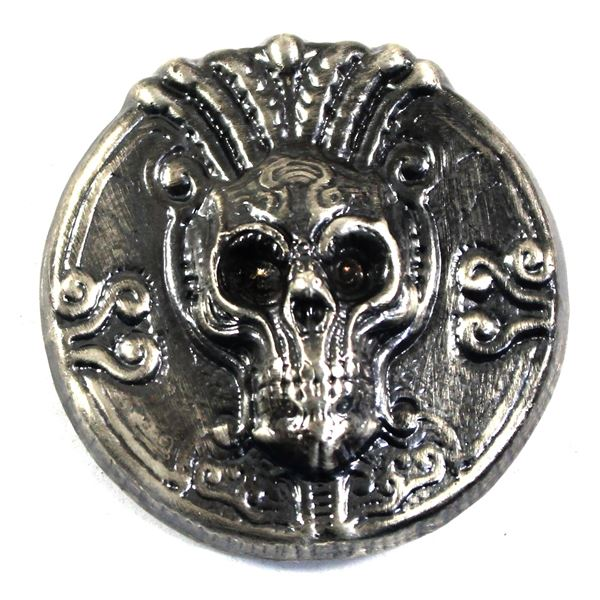 5oz Fine Silver Limited Edition Skull, Ultra High Relief, struck in Antique Finish by Beaver Bullion