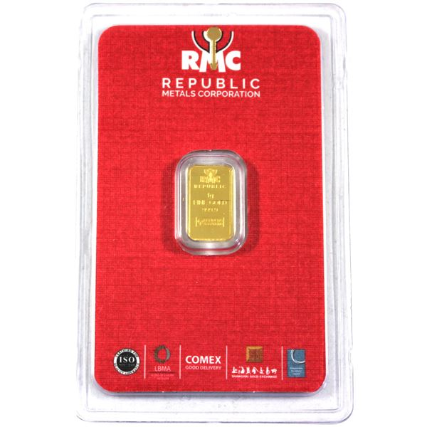1 gram Gold Wafer by RMC Metals Corp. Comes in Assay Card. .9999 Fine (Tax Exempt)