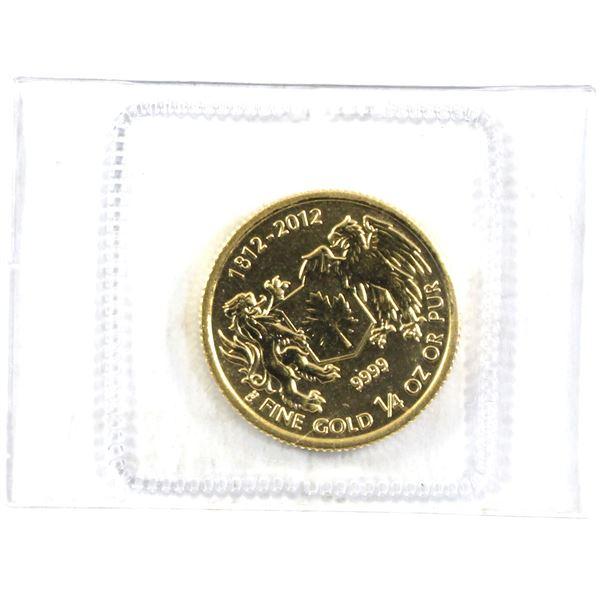 """1812-2012 1/4oz Fine Gold $10 Maple 'Devil's Brigade"""" commemorative. Still sealed in mint Pliofilm."""