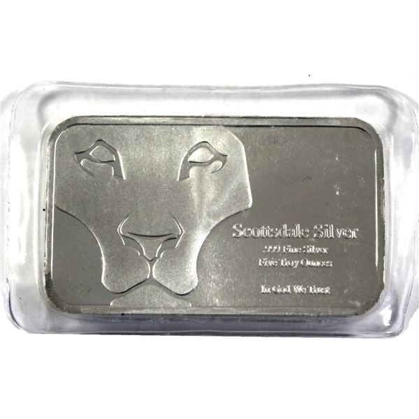 """5oz Fine Silver  Scottsdale 'Prey Bar"""" featuring the Lions Head. Still Sealed (tape residue on holde"""