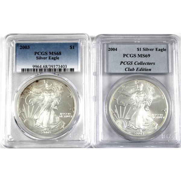 Pair of PCGS Certified 1oz Silver USA Eagles. Lot includes a 2003 MS68 & 2004 MS69 Collectors Club E