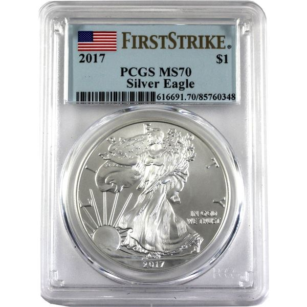 """2017 USA 1oz Silver Eagle PCGS Certified MS70 'First Strike"""" (Tax Exempt)"""