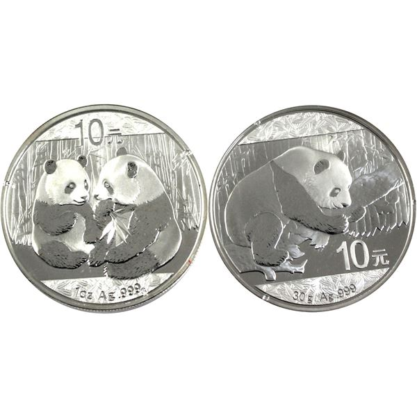 Pair of China Silver 10 Yuan Panda's. Lot includes: 1oz 2009 & 30 grams 2016, both in Original Capsu