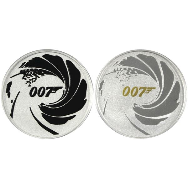 "Pair of 1oz Fine Silver $1 Tuvalu James Bond ""007"" commemorative rounds. Lot Includes 2021 Gold Plat"