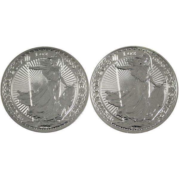Pair of 1oz Fine Silver Great Britain Britannia's. Lot includes 2017 & 2018 both come encapsulated.