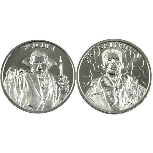 Pair of 2oz Fine Silver Rounds by Intaglio Mint. Lot includes: Dracula & Frankenstein commemoratives