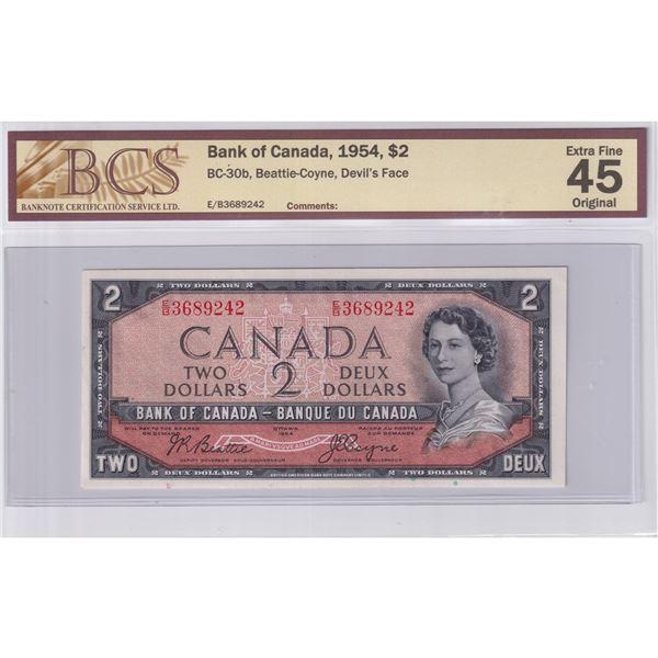 BC-30b 1954 Bank of Canada $2, Devil's Face Beattie-Coyne. S/N: E/B3689242 BCS Certified EF-45 Origi