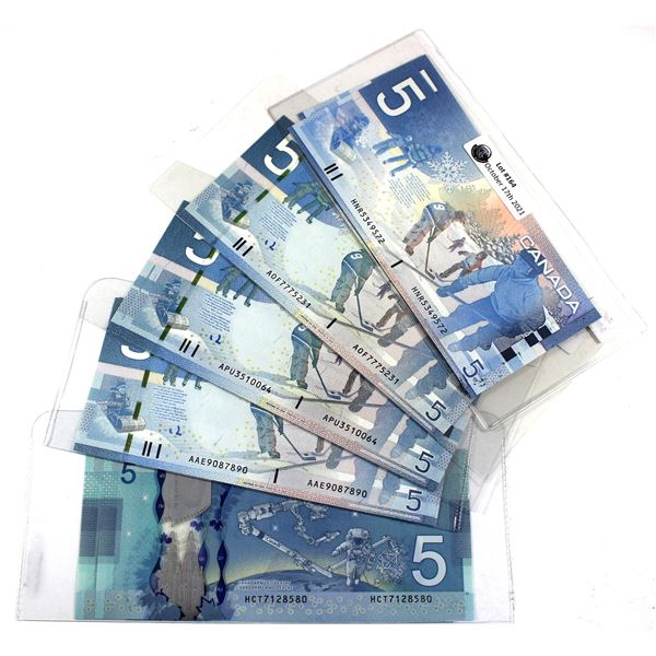 Lot of 5x Pairs of Bank of Canada $5 Notes with Sequential Serial Numbers - BC-62b 2004 HNR5349571/5