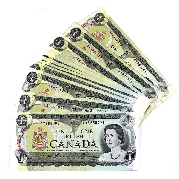 28x BC-46a 1973 Bank of Canada $1 Notes with 2 Letter Prefixes Lawson-Bouey.  Notes are VF-UNC+ (mos