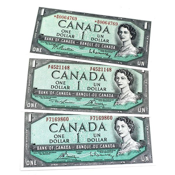 4x 1954 Bank of Canada $1 Modified Notes - BC-37bA-i S/N: *B/M0064769 AU-UNC, BC-37c S/N: N/F7169860
