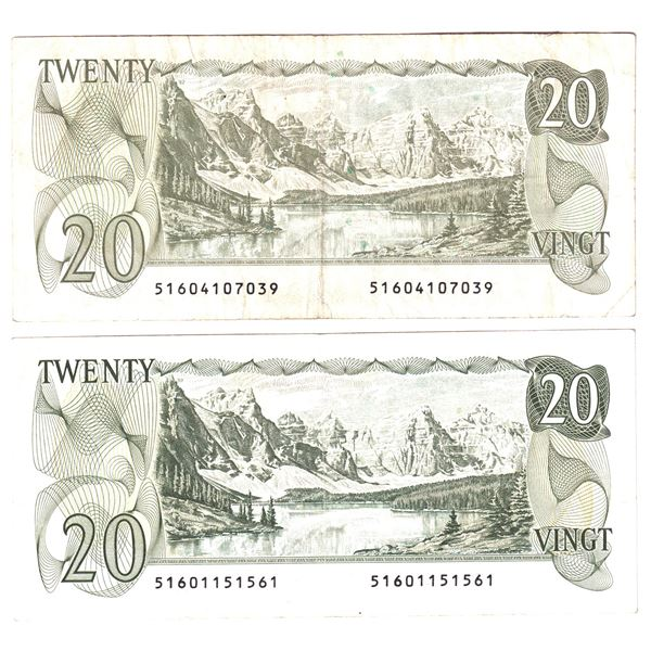 """2x 1979 Bank of Canada $20 """"516"""" Thiessen-Crow Replacement Notes - S/N: 51601151561 An attractive EF"""
