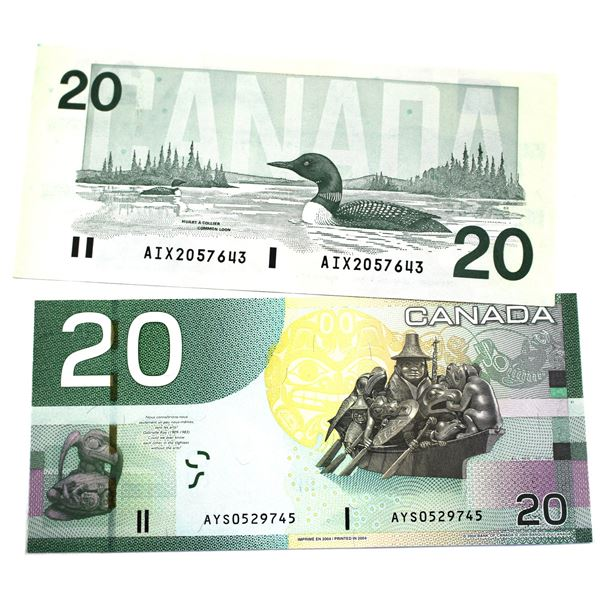 2x Bank of Canada $20 Notes - BC-58bA-i 1991 Replacement Bonin-Thiessen. S/N: AIX2057643 A VF+ Note