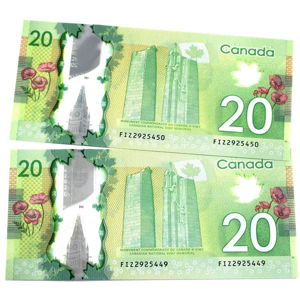 BC-71a-i 2012 Bank of Canada $20, 2x Consecutive  Macklem-Carney. S/N: FIZ2925449/450 Both notes are