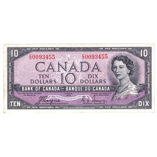 BC-32a 1954 Bank of Canada $10, Devil's Face Coyne-Towers. S/N: C/D0093455 About VF Condition.