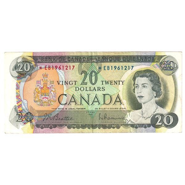 BC-50aA 1969 Bank of Canada $20, Replacement Beattie-Rasminsky. S/N: *EB1961217 A VF+ Note.