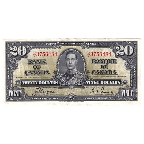 BC-25c 1937 Bank of Canada $20, Coyne-Towers. S/N: J/E3756484 An attractive VF-EF Note.
