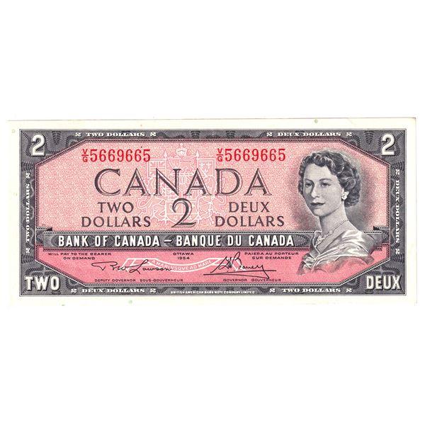 BC-38d-N1-iii 1954 Bank of Canada $2, 3-digit Radar, Modified  Lawson-Bouey. S/N: V/G5669665 An Attr
