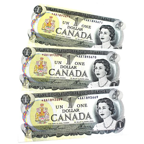 BC-46aA 1973 Bank of Canada $1, 3x Sequential Replacement Lawson-Bouey. S/N: *AA1893669/670/671 All