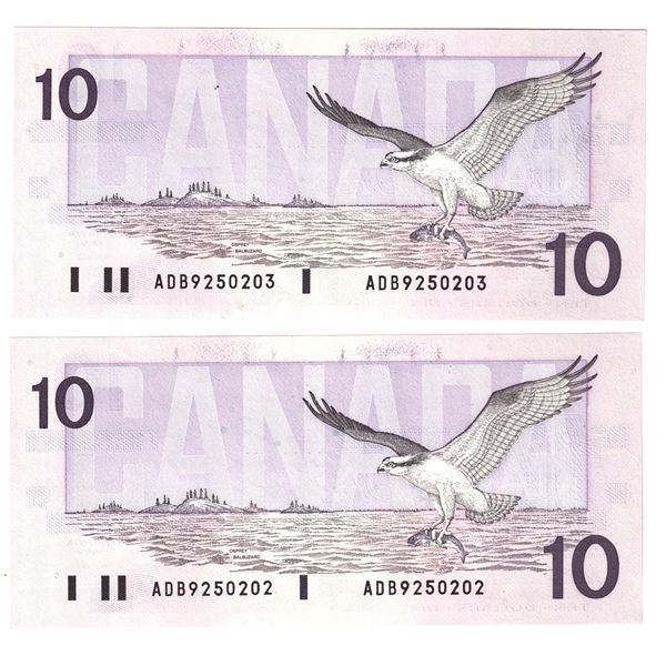 BC-57a  1989 Bank of Canada $10, 2x Sequential Thiessen-Crow. S/N: ADB9250202/203 Both notes nice CU