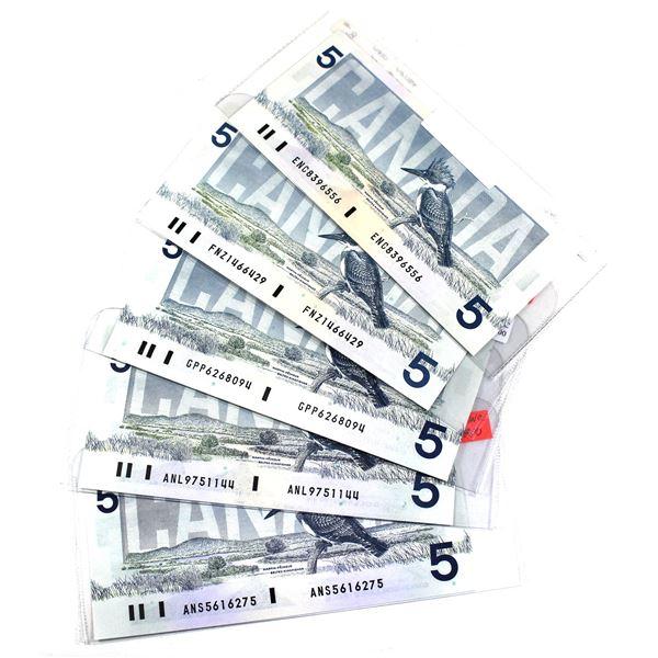 5x 1986 Bank of Canada $5 Notes - BC-56a prefix ENC, BC-56b prefix FNZ, BC-56c prefix GPP, BC-56d pr