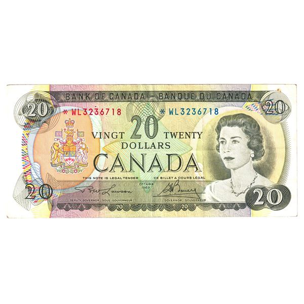 BC-50bA 1969 Bank of Canada $20, Replacement Lawson-Bouey. S/N: *WL3236718 A VF-EF Note.