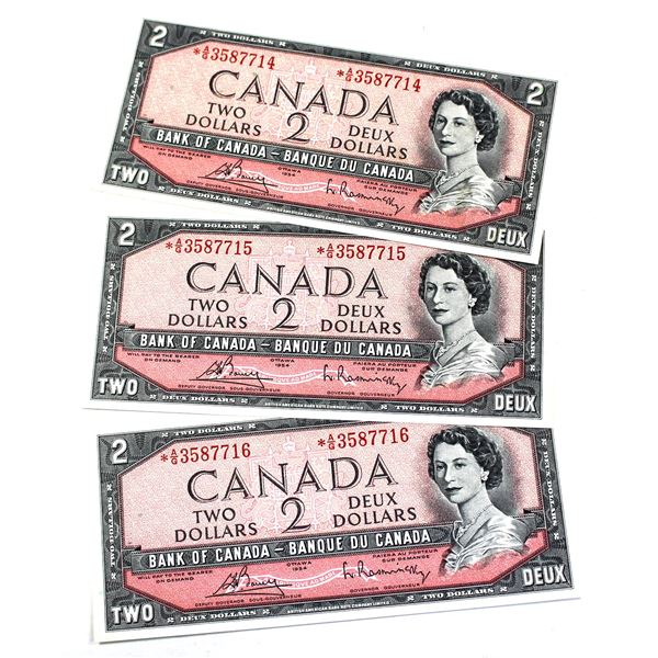 BC-38cA 1954 Bank of Canada $2, 3x Sequential Modified  Replacement Bouey-Rasminsky. S/N: *A/G358771